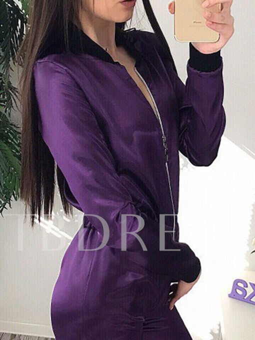 Plain Slim Long Sleeves Casual Women's Jumpsuits