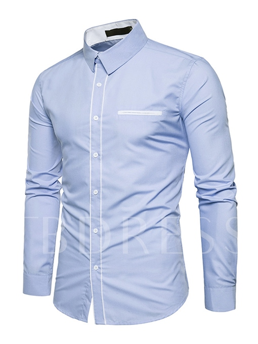Lapel Contrast Trim Single-Breasted Slim Fit Men's Casual Shirt