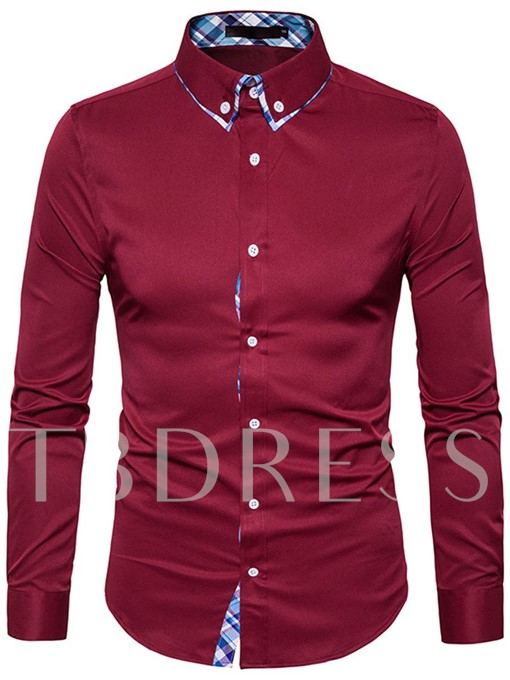Lapel Plaid Patchwork Solid Color Slim Fit Men's Button Shirt