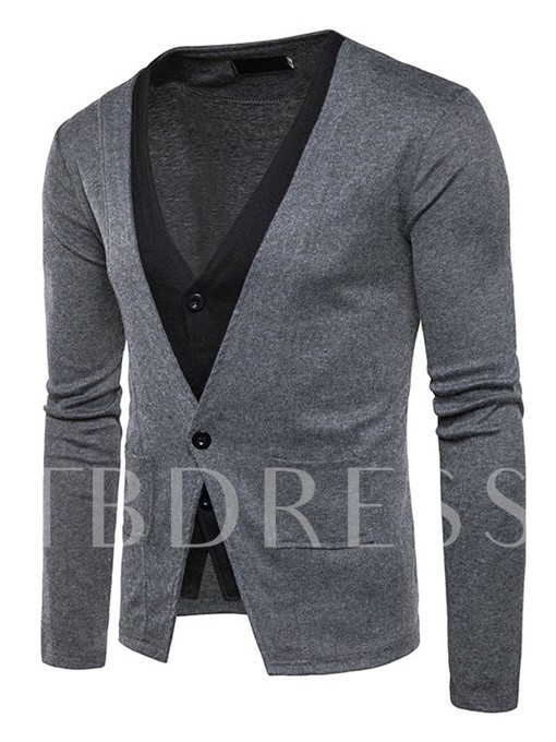 V-Neck Fake Two Piece Patchwork One Button Slim Fit Men's Cardigan Sweater