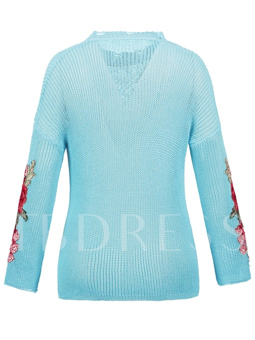 Drop-Shoulder Floral Embroideried Asymmetric Women's Vacation Sweater