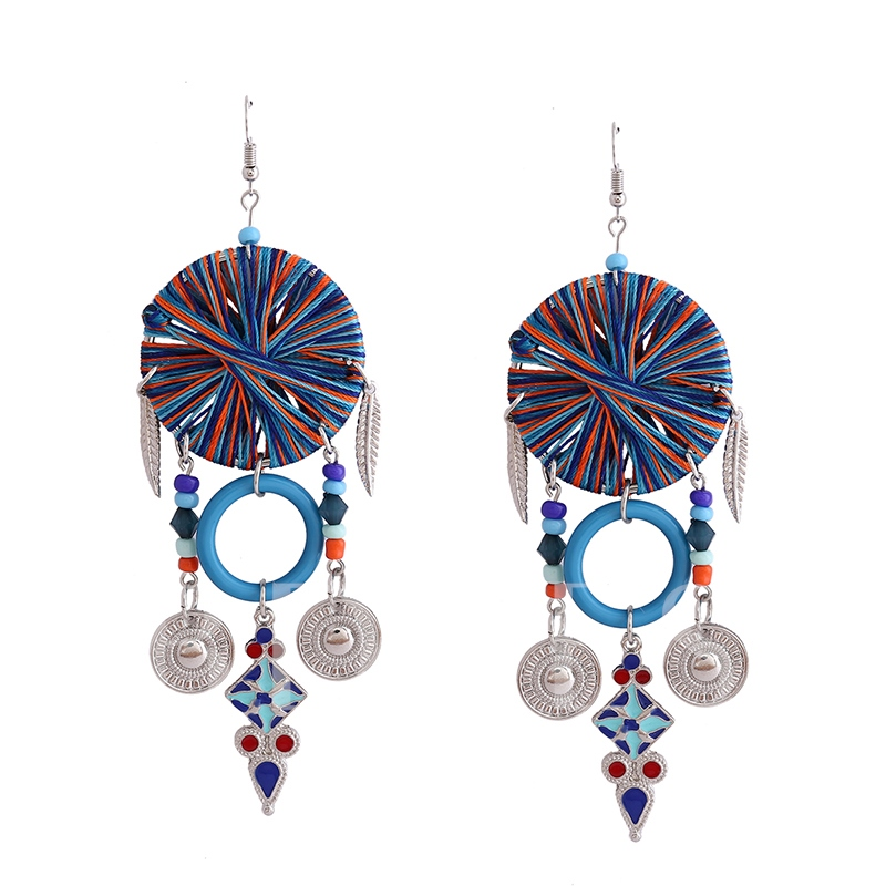 Color Block Cross Cotton Thread Round Shape Resin Alloy Hollow Out Annular Oil Drop Tassel Earrings