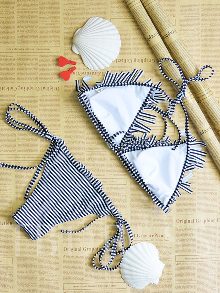 Stripe Tassel Lace-Up Bikini Set