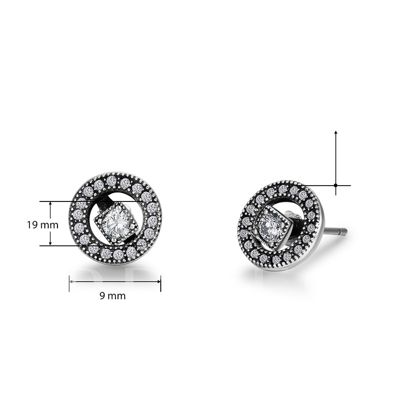 Diamante Round Square Korean Style Earrings