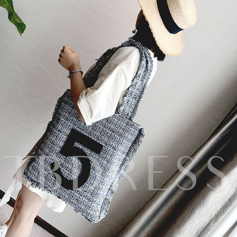 Casual Letter Embroidery Canvas Shoulder Bag