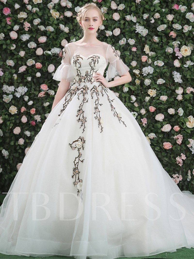 9f41314a94 Appliques Bateau Ball Gown Short Sleeves Court Train Quinceanera Dress.  Sold Out