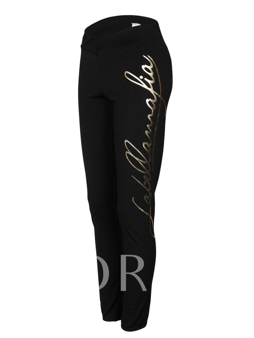 Mid-Waist Golden Letter Print Women's Leggings