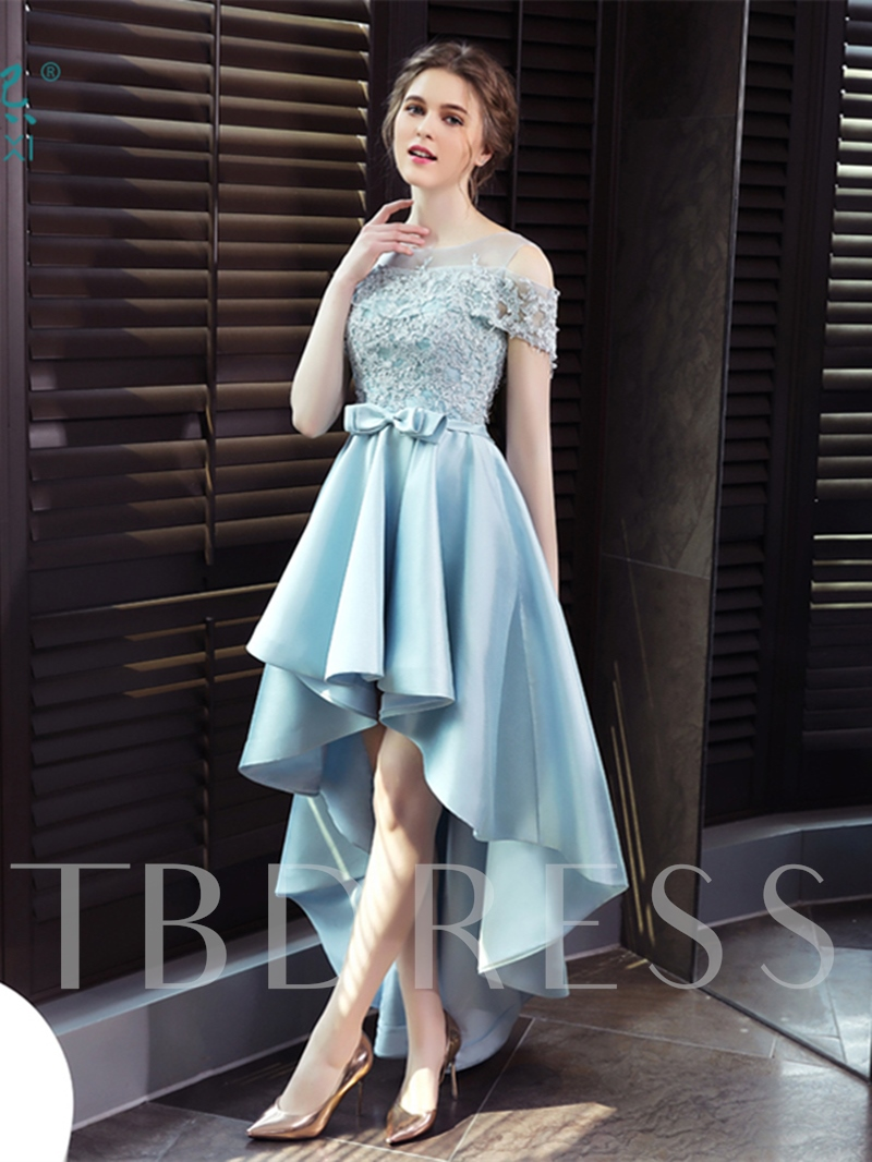A-Line Scoop Appliques Bowknot Sashes High Low Prom Dress
