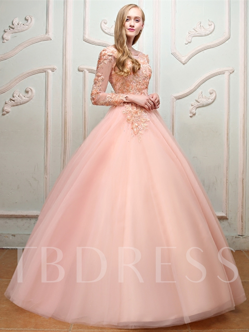 16a3ea0950d6 Long Sleeves Ball Gown Appliques Beading Pearls Bateau Quinceanera Dress.  Sold Out