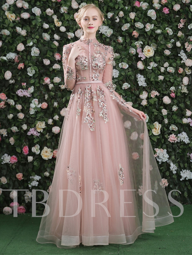Long Sleeves Button Embroidery Pearls Sashes High Neck A-Line Evening Dress