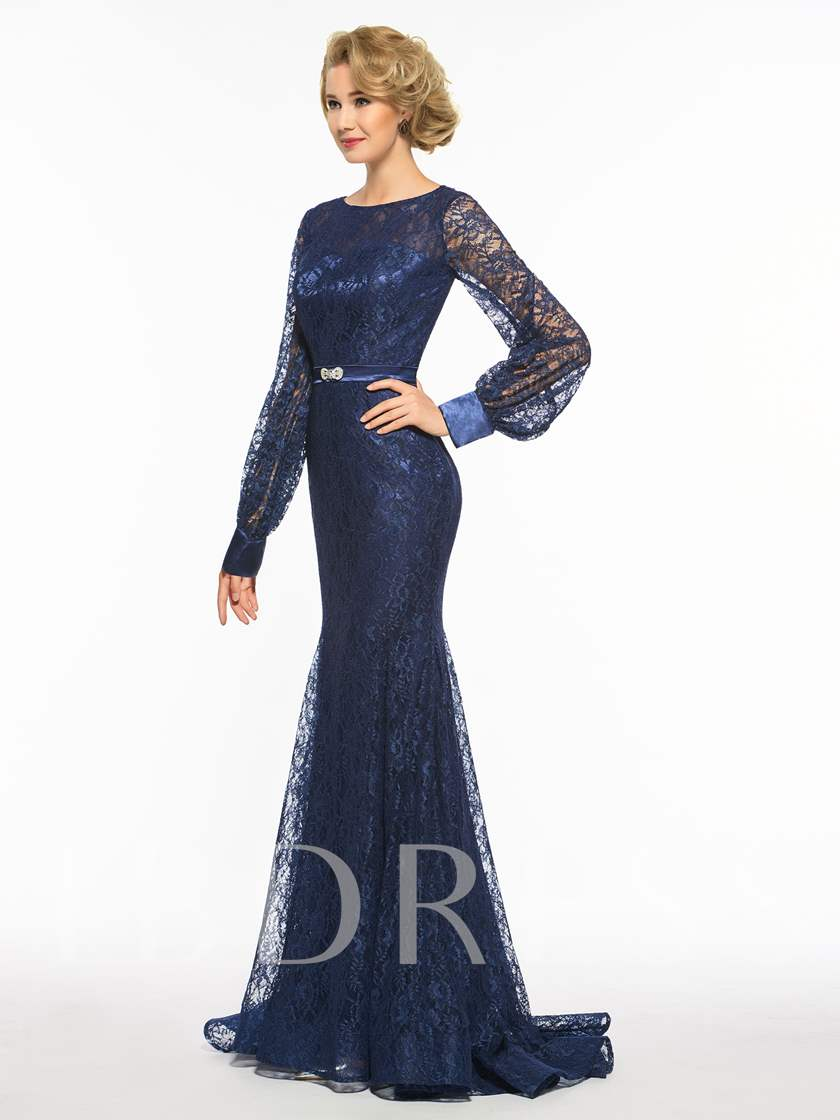 Mermaid Long Sleeve Lace Mother Of The Bride Dress