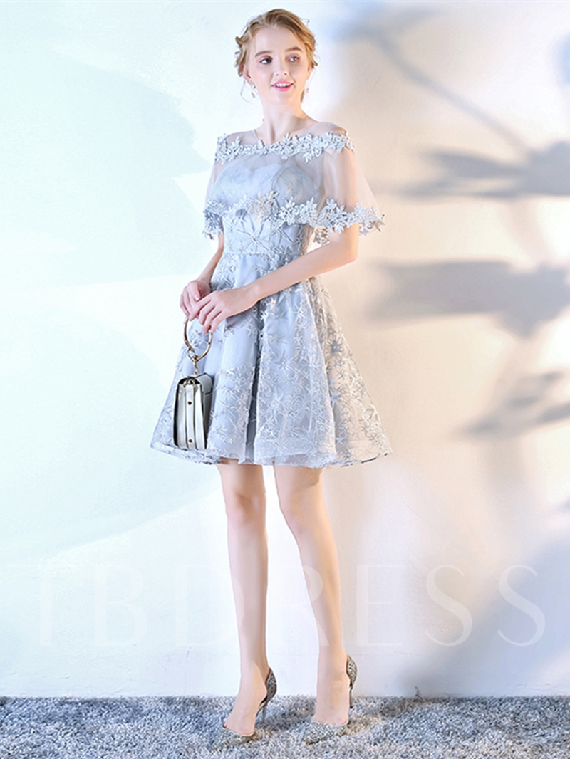 A-Line Scoop Lace Appliques Short Sleeves Mini Homecoming Dress