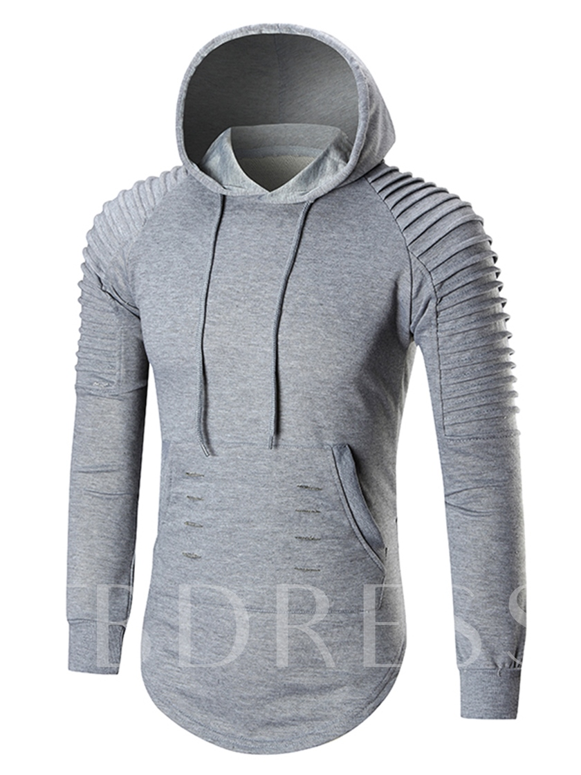 Hooded Solid Color Kangaroo Pocket Slim Men's Hoodie