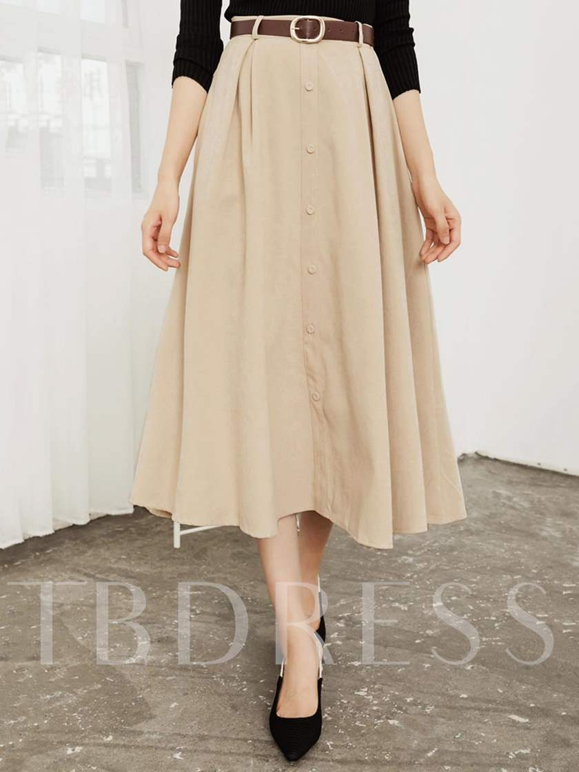Pleated Plain Knee-Length Expansion Women's Skirt