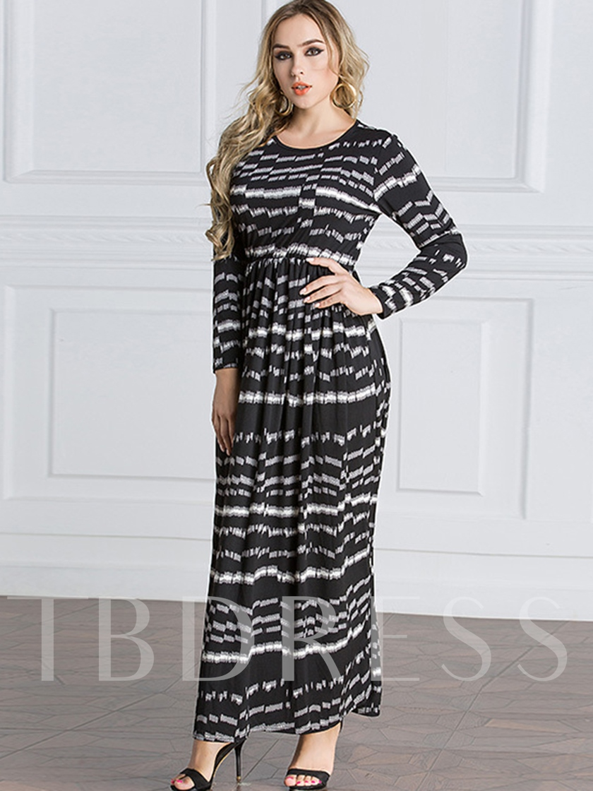 Round Neck Black Women's Day Maxi Dress