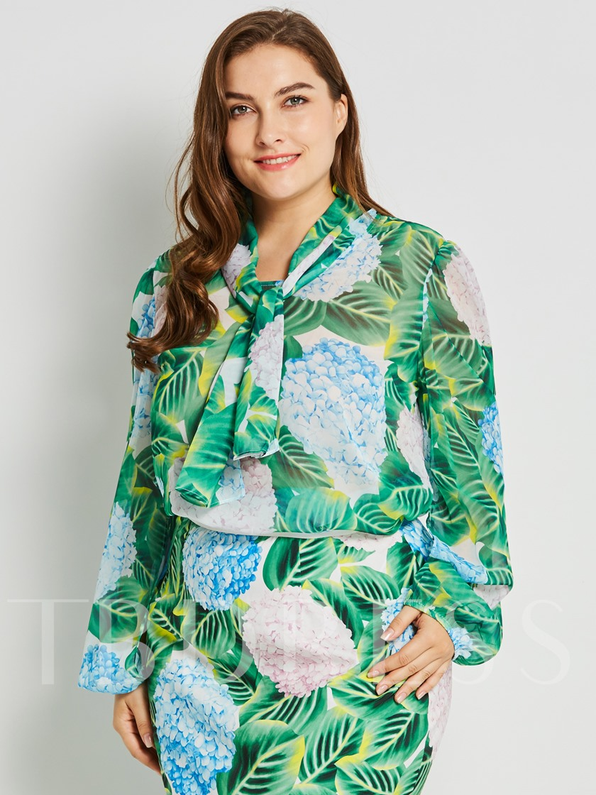 Floral Printed Slim Silk Plus Size Women's Blouse