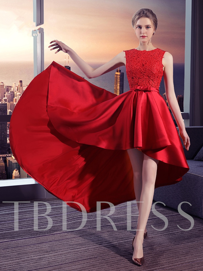A-Line Bowknot Sashes Appliques Asymmetry Prom Dress