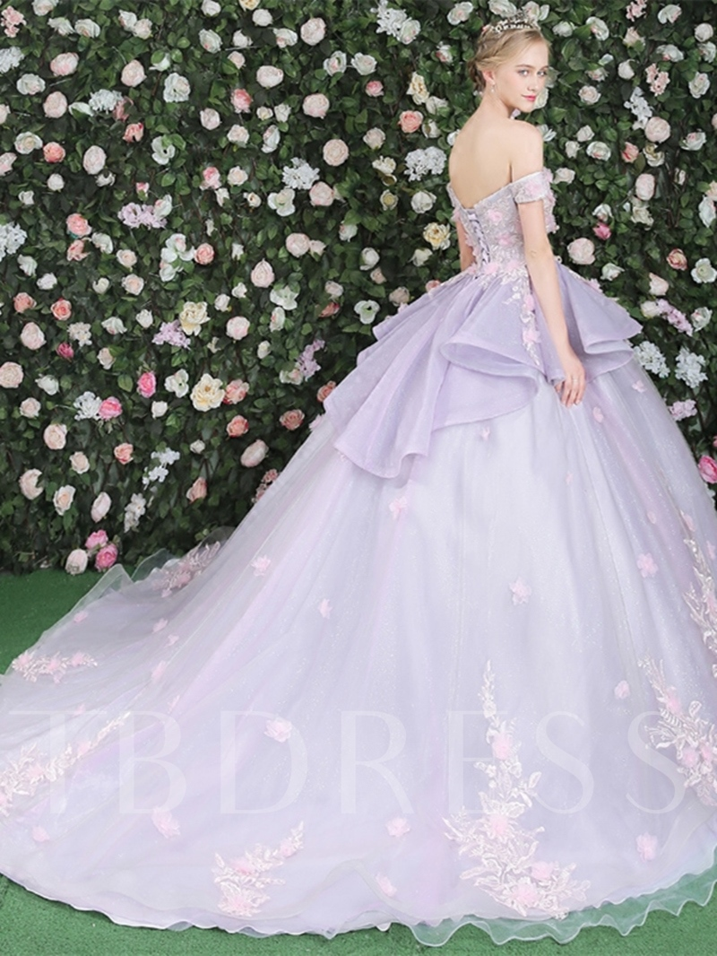 be849a94eed Ball Gown Off-the-Shoulder Flowers Lace Pick-Ups Court Train Quinceanera  Dress. Sold Out
