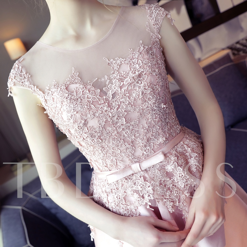 Scoop Appliques Bowknot Sashes Cap Sleeves Asymmetry Prom Dress