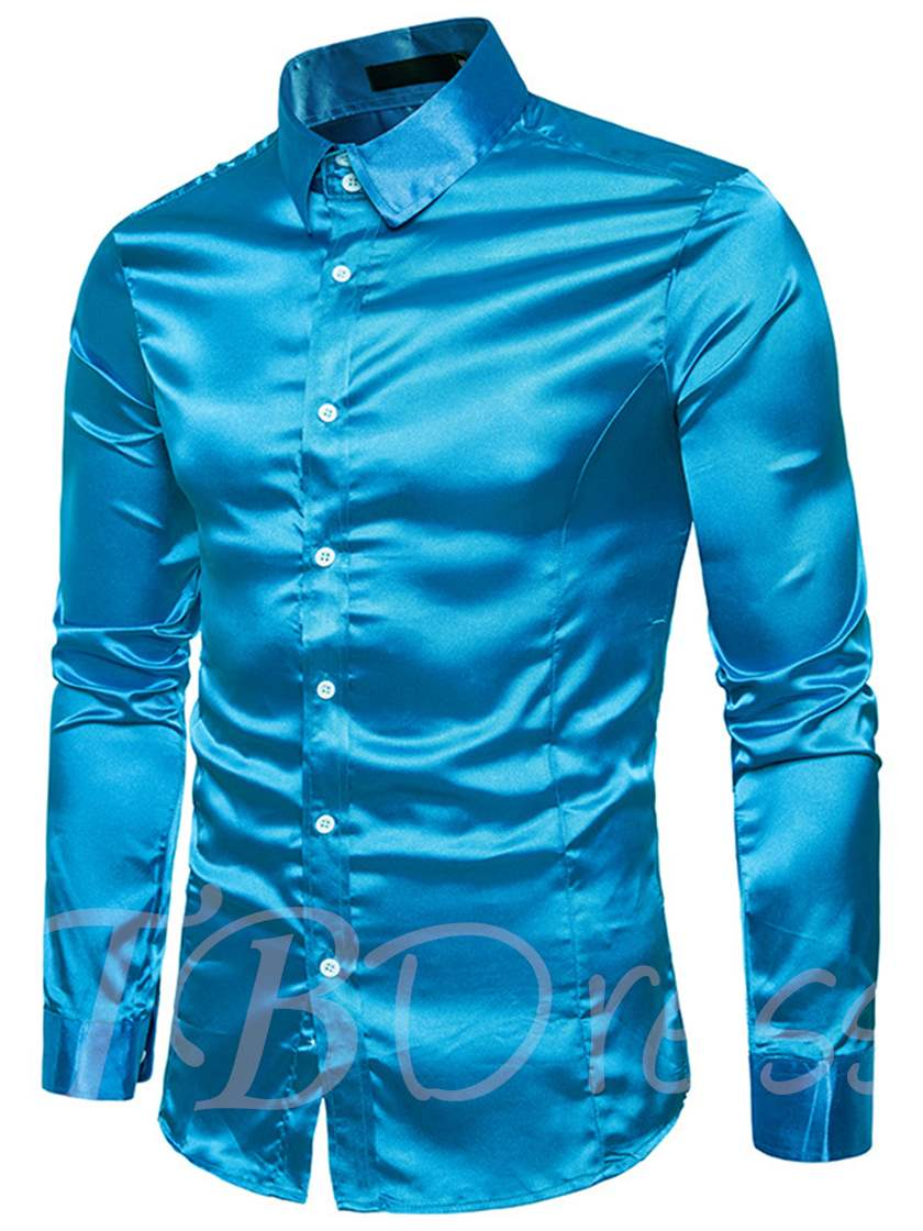 Multicolor Tylish Silk Satin Shirt Casual Long Sleeve Slim Fit Mens Business Wedding Men'sDress Shirts