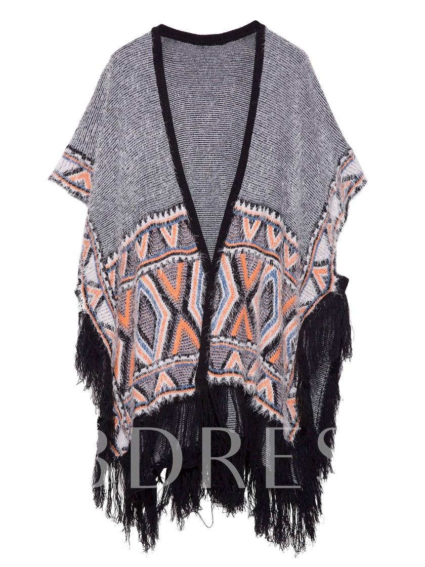 Color Block Tassel Patchwork Women's Cape
