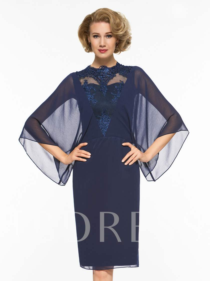 Lace Appliques Column Mother Dress with Sleeve