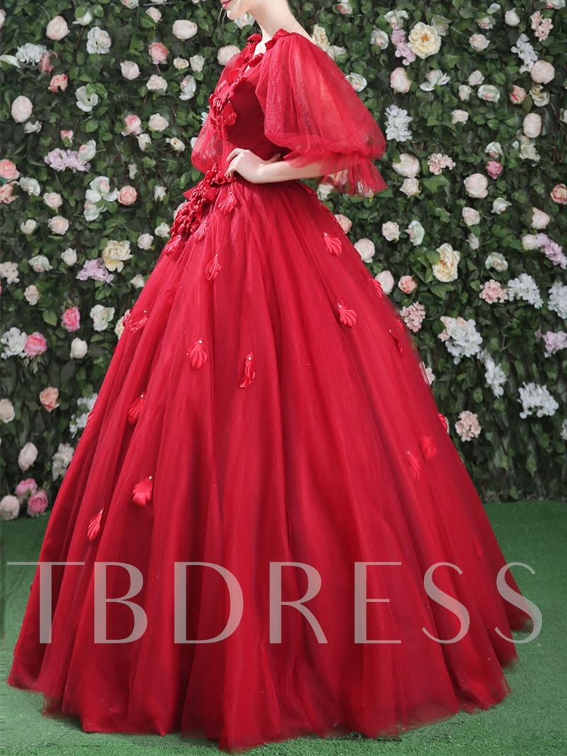 V-Neck Half Sleeves Ball Gown Flowers Pearls Floor-Length Quinceanera Dress