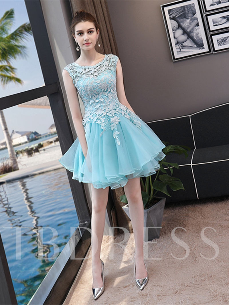 A-Line Scoop Lace Sleeveless Mini Homecoming Dress