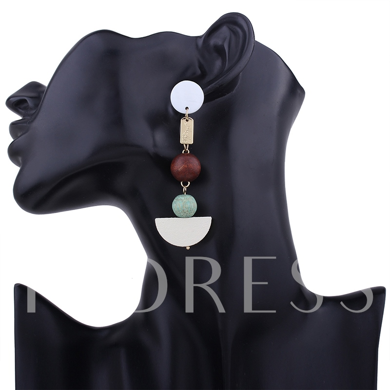 Carving Letter Alloy Round Resin Slice Wooden Beads Boat Shape Tassel Earrings