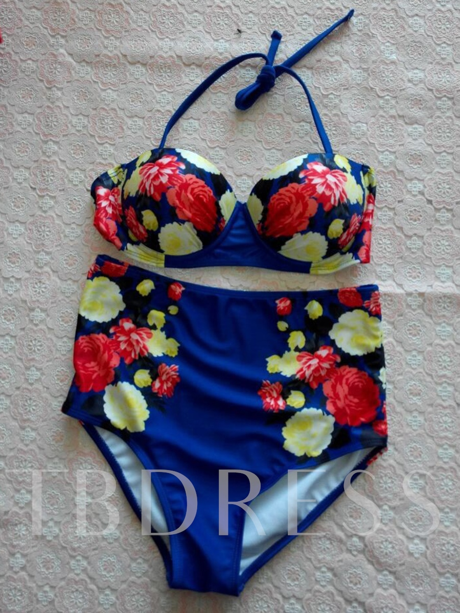 Floral Print High-Waist Lace-Up Bikini Set