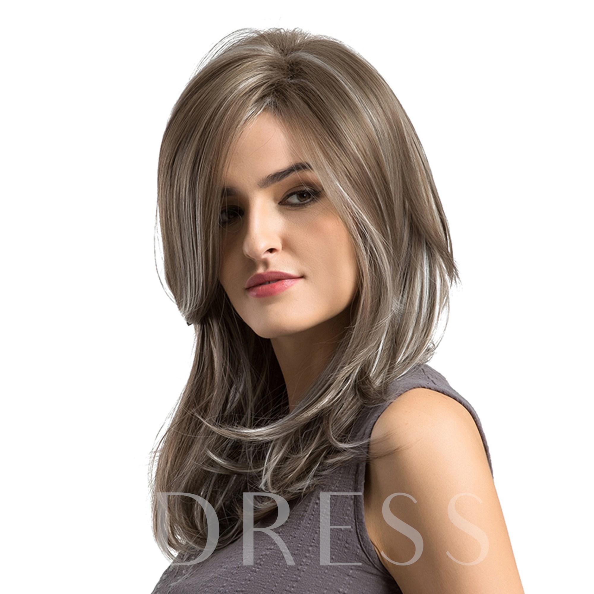 Mix Color Wavy Cut Synthetic Hair Women Capless Wig