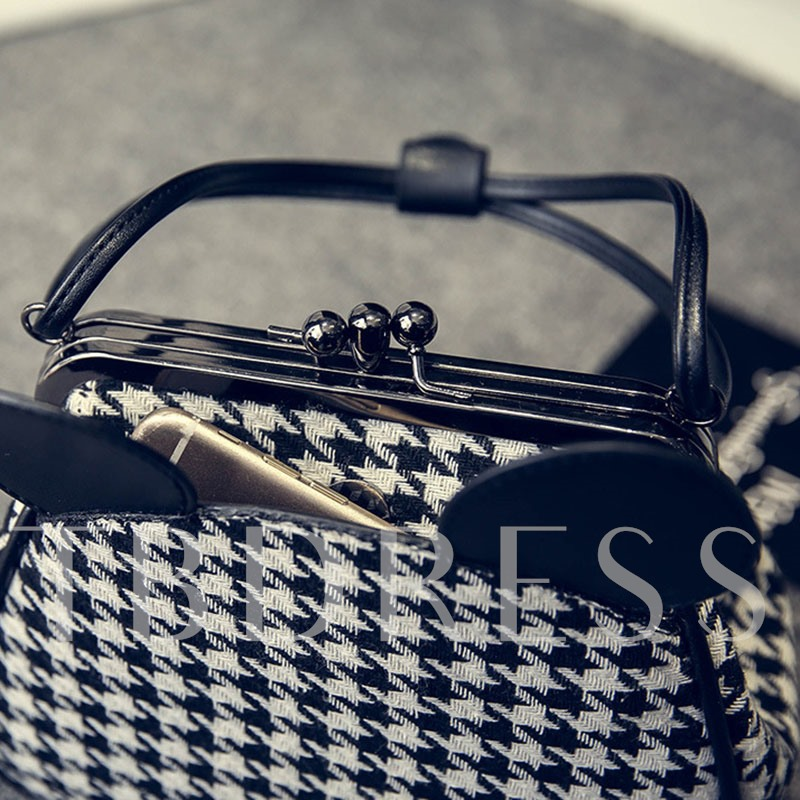 Mickey Head Shape Houndstooth Pattern Tote