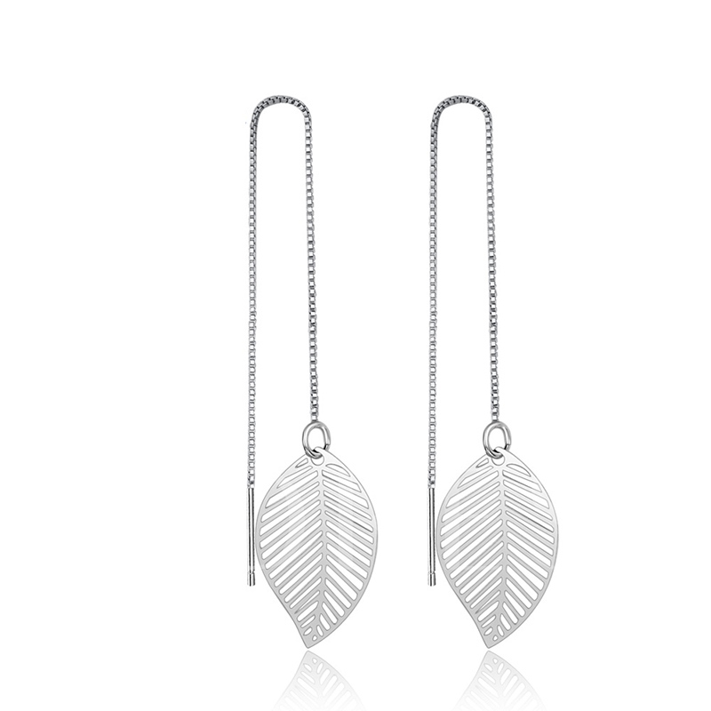 Leaf Design Box Chain Bronze Silver Plated Earring