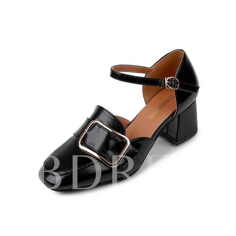 Square Toe Line-Style Buckle Sequin Women's High Heel Pumps