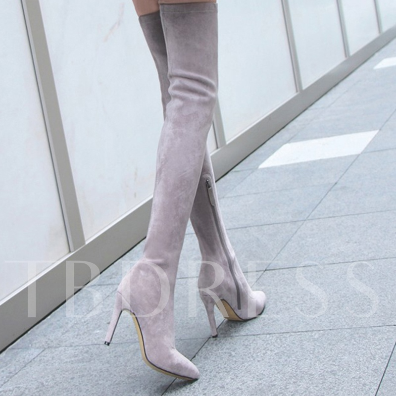 Nubuck Leather Chunky High Heel Thigh-High Boots for Women