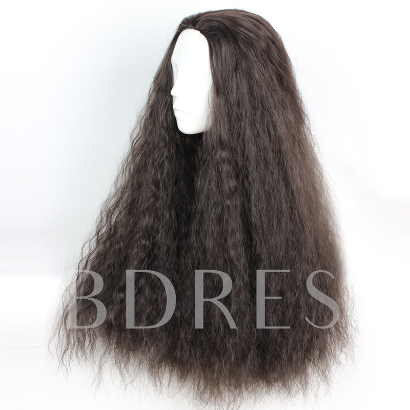 Japanese Lolita Style Long Kinky Curly Wave Black Cosplay Wigs Capless 30 Inches