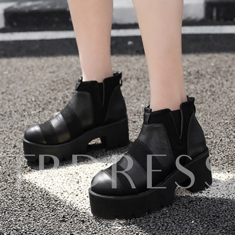 Wide Stripe Back Zip Block Heel Women's Platform Shoes