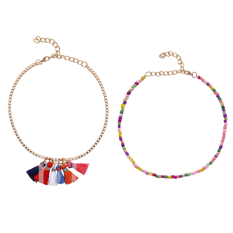 Multicolor Thread Tassels Alloy Box Chain Seed Beads Bohemian Choker Necklaces