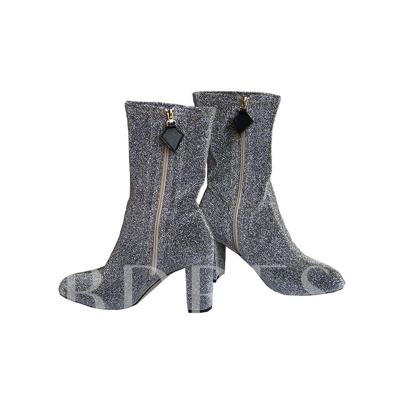 Side Zipper Suede Chunky Heel Sex Ankle Boots for Women
