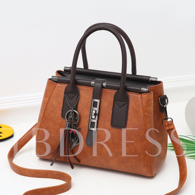 Concise Tassels Adornment Solid Color Cross Body