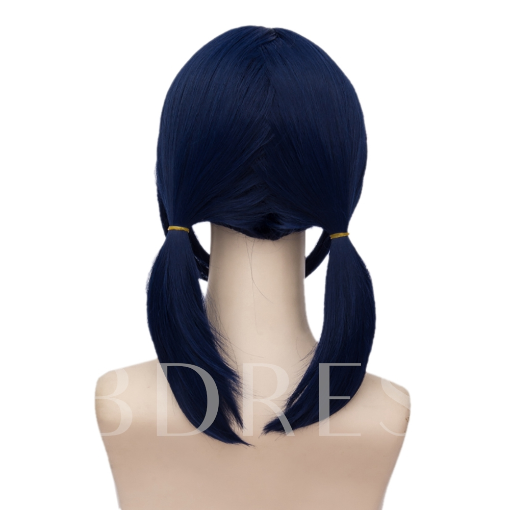 Miraculous Ladybug Lang Straight Dark Blue Synthetic Hair Capless Halloween Cosplay Wig 18 Inches