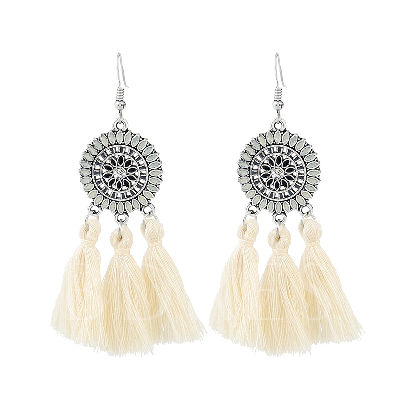 Round Color Block Marquise Oil Drip Alloy Three-Bunch Long Thread Tassels Earrings