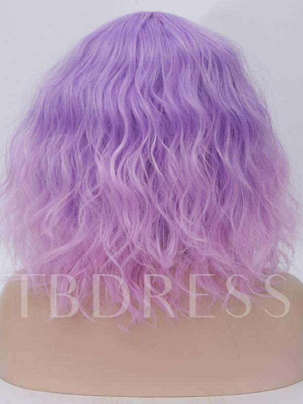 Short Wave Purple And Pink Color Cosplay Wigs Halloween Synthetic Hair Capless 14 Inches
