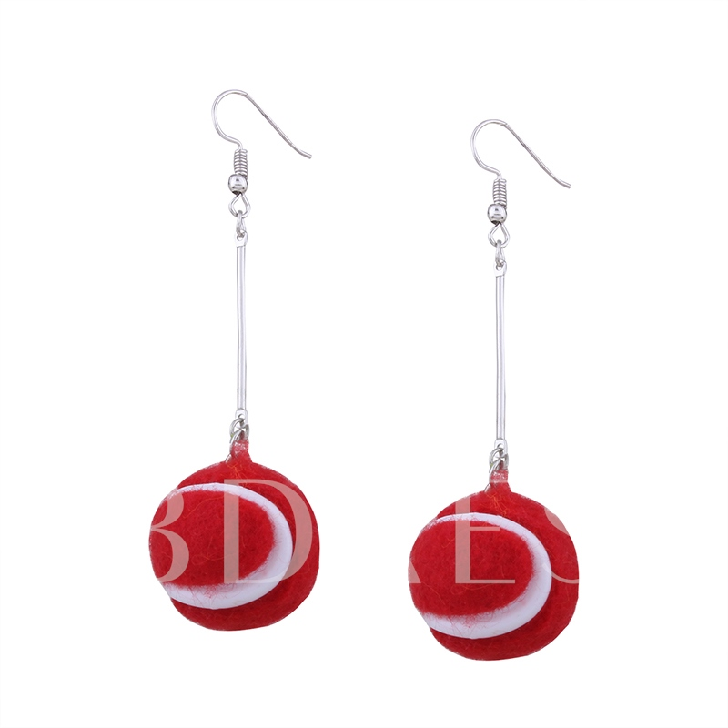 Sports Balls Shaped Pendant Alloy Resin Creative Tassel Earrings