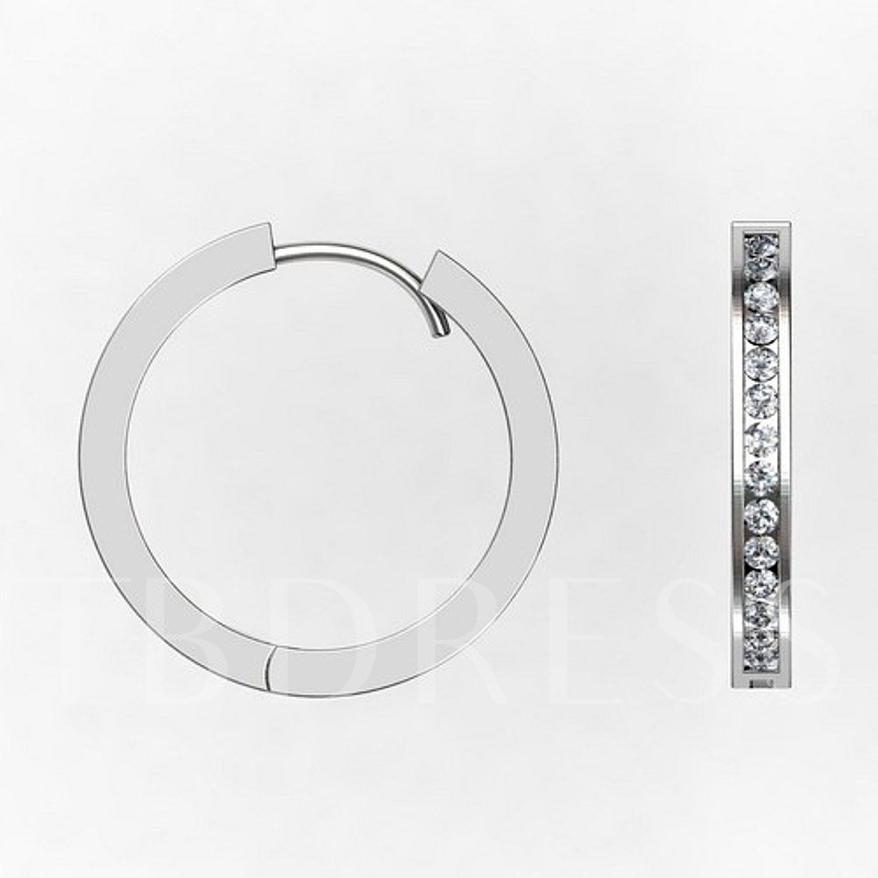 Diamante Circle Silver Plated All Match Earrings