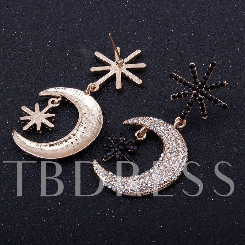 Black Balls Inlaid Snowflake Shaped Bars Full Rhinestone Moon Gold-Tone Alloy Korean Drop Earrings