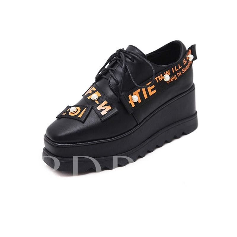 Letter Square Toe Lace-Up Women's Platform Shoes