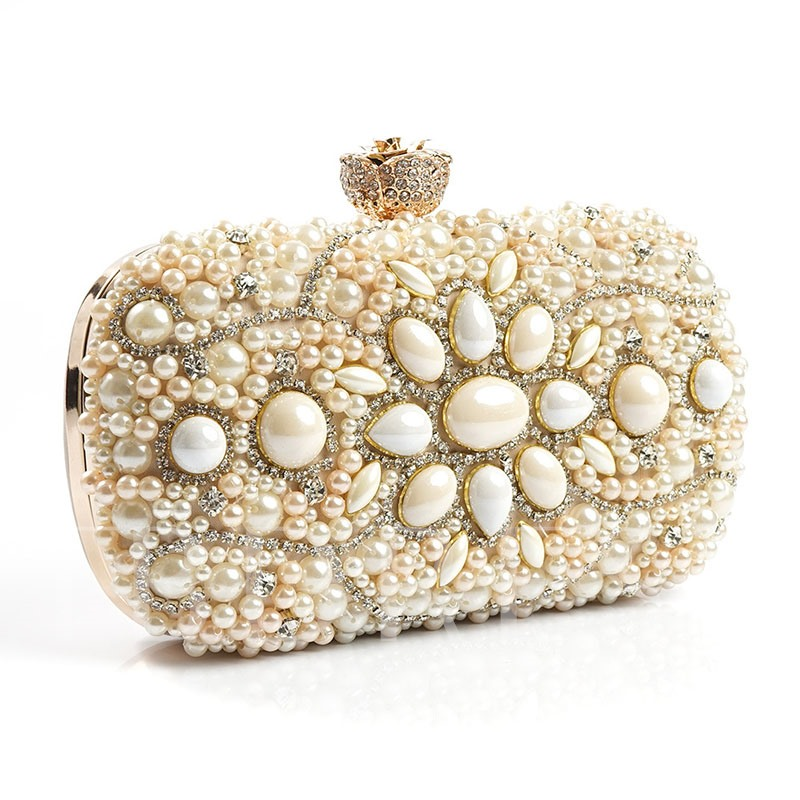 High-End Handmade Embroidered Pearl Evening Clutch