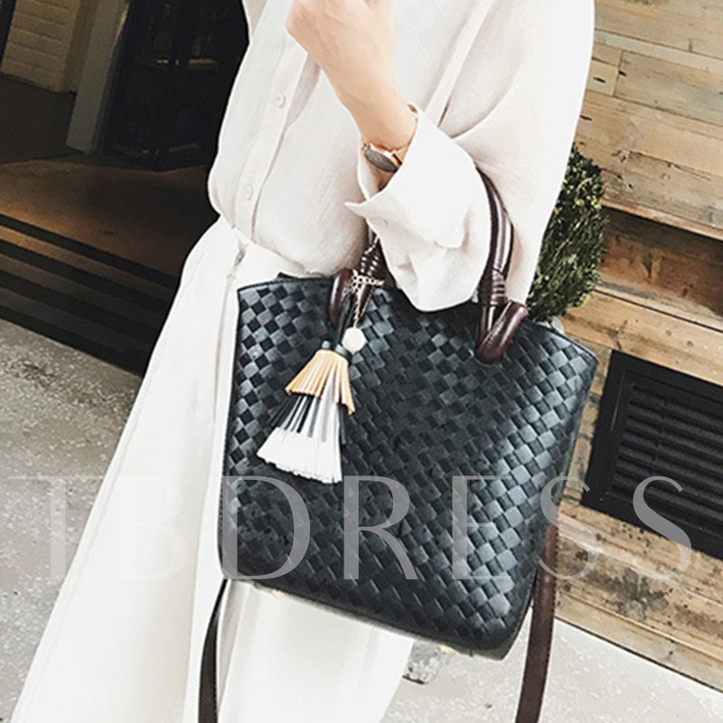 Concise Knitted Pattern Tassel Women Tote