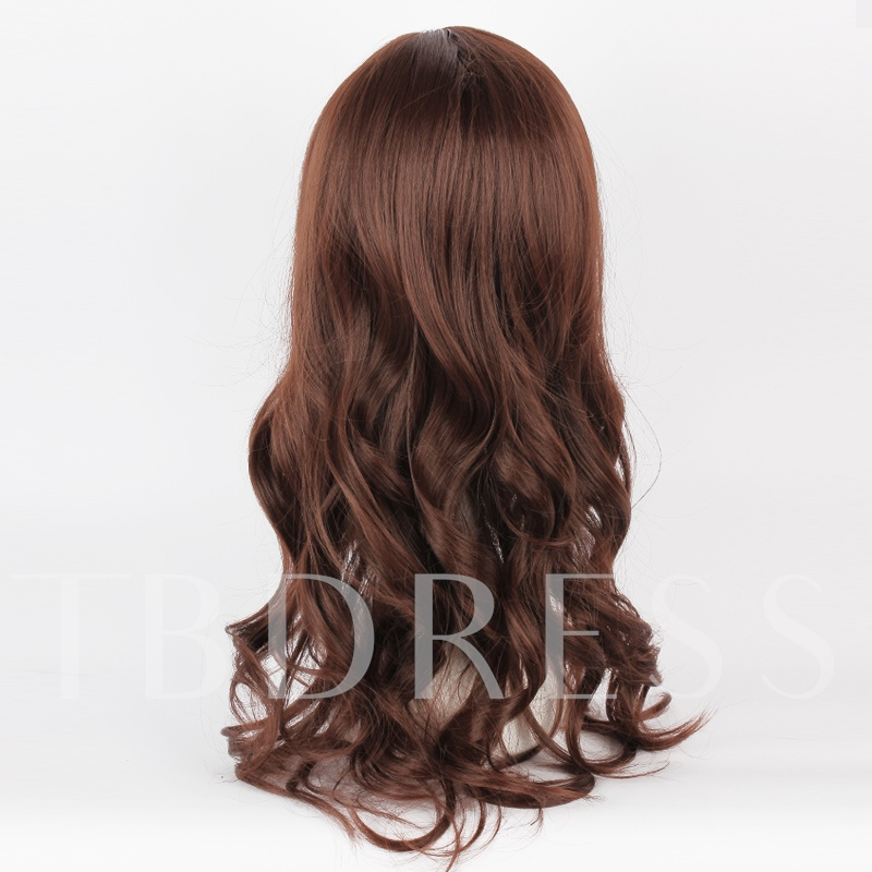 Long Curly Dark Brown Long Synthetic Hair Capless Cosplay Wig 28 Inches